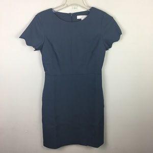 Loft gray Scalloped hem faux wrap career dress
